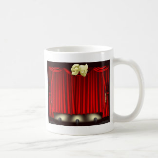 Theatre stage with masks coffee mug