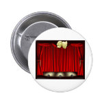 Theatre stage with masks pinback buttons