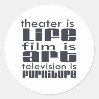 Theatre vs Film vs TV Classic Round Sticker