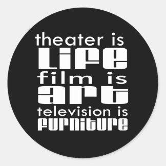 Theatre vs Film vs TV Round Stickers