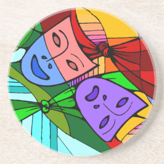 Theatrical masks colorful stained glass coaster