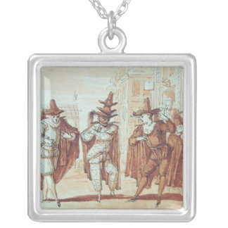 Theatrical Scene Silver Plated Necklace