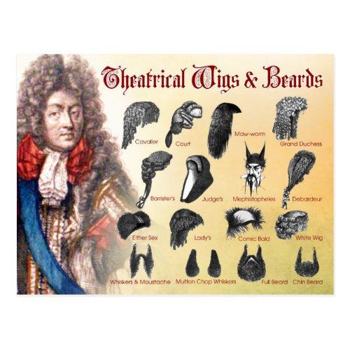 Theatrical Wigs  Beards Postcard