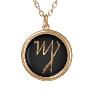 """Theban Alphabet """"F"""" Gold Plated Necklace"""