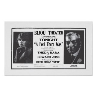 Theda Bara 1916 vintage movie ad poster