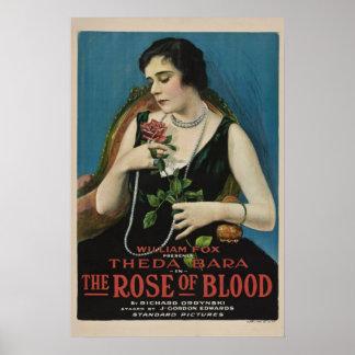 Theda Bara el color de rosa del cartel de película Poster