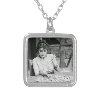 Theda Bara Playing Cards Square Pendant Necklace