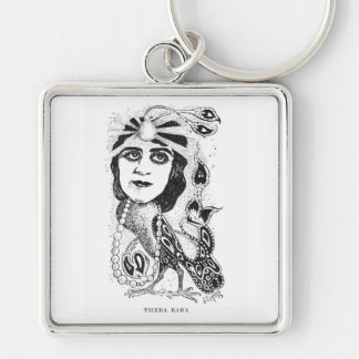 Theda Bara Silent movie star caricature Keychain