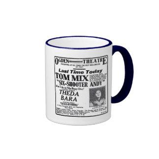 Theda Bara, Tom Mix 1918 vintage movie ad mug