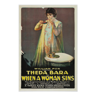 """Theda Bara """"When a Woman Sins"""" Poster"""