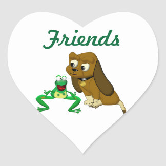 TheDogAndTheFrog.com Cartoon Story Book Gifts Heart Sticker