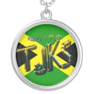 Thejamkingshow JAMAICAN EMBOSS NECK BLING Round Pendant Necklace