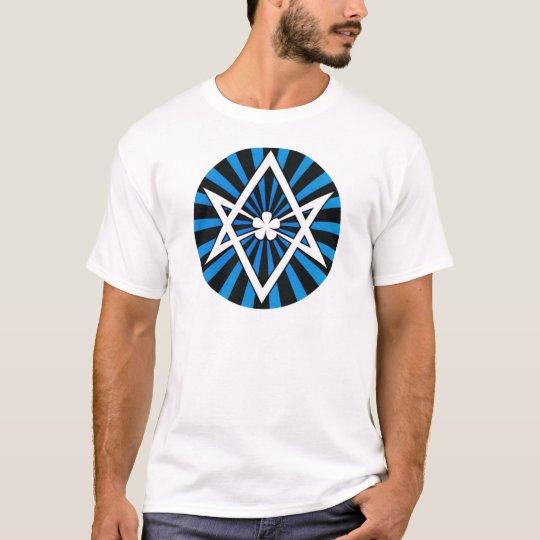 Thelema Unicursal Hexagram Blue Sunburst T-Shirt