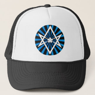 Thelema Unicursal Hexagram Blue Sunburst Trucker Hat