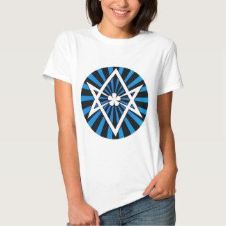 Thelema Unicursal Hexagram Blue Sunburst Tshirts