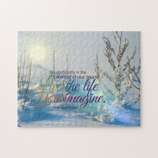 TheLife You Imagine Winter Snow MotivationalQuote Jigsaw Puzzle