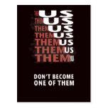 THEM versus US - Zombie Apocolypse Post Card