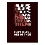 THEM versus US - Zombie Apocolypse Postcards