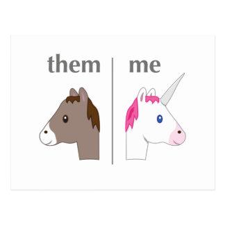 Them vs Me Donkey vs Unicorn funny Postcard