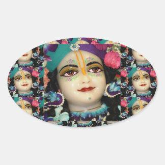 Theme : KRISHNA Devotion Chant n Meditate Oval Stickers