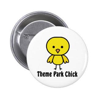 Theme Park Chick Pinback Button