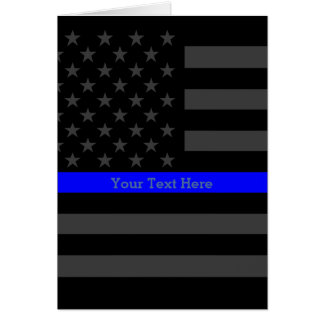 Theme Thin Blue Line Personalized Black US Flag Card