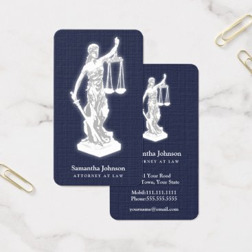 Professional Business Themis | Attorney At Law Midnight Blue Business Card