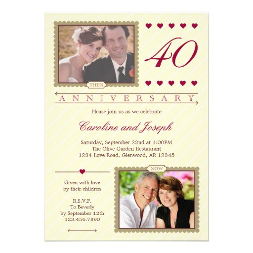 Then and Now 40th Wedding Anniversary Invitation (front side)