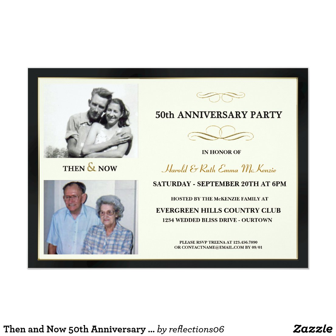 Then and Now 50th Anniversary Invitations