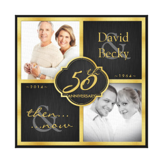Then and Now 50th Wedding Anniversary Gallery Wrap Canvas