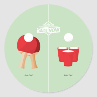 Then And Now: Ping Pong Round Stickers