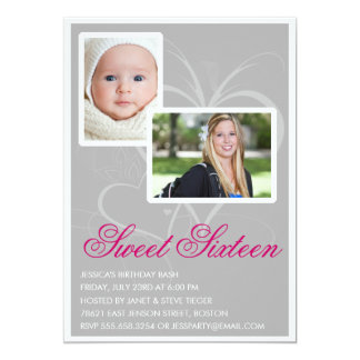 """Then and Now Sweet 16 Birthday Party Invitations 5"""" X 7"""" Invitation Card"""
