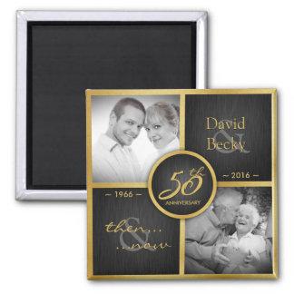 Then & Now 2016 Elegant Black & Gold 50th Wedding 2 Inch Square Magnet