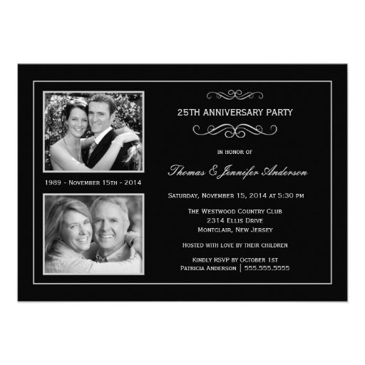 Then & Now 25th Silver Anniversary with 2 Photos Custom Invitation