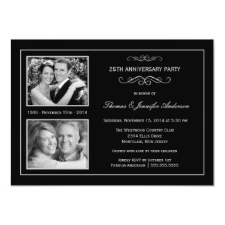 Then & Now 25th Silver Anniversary with 2 Photos Invitation