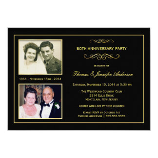Then & Now 50th Golden Anniversary with 2 Photos 4.5x6.25 Paper Invitation Card