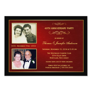 "Then & Now Anniversary with 2 Photos - 40th 4.5"" X 6.25"" Invitation Card"