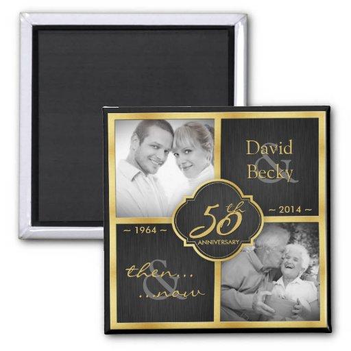 Then & Now Elegant Black and Gold 50th Wedding Fridge Magnets