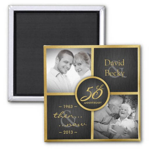 Then & Now Elegant Black and Gold 50th Wedding Refrigerator Magnet