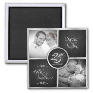 Then & Now Elegant Black and Silver 25th Wedding 2 Inch Square Magnet
