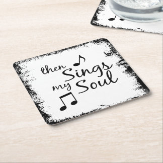Then Sings my Soul Square Paper Coaster