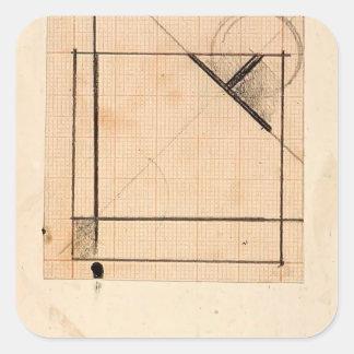 Theo Doesburg Estudio para las composiciones simu Calcomanías Cuadradass