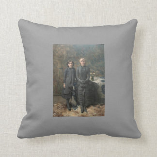 Theo Rysselberghe-Sisters of Painter Schlobach Throw Pillow