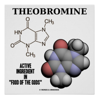 Theobromine Chocolate Molecule Active Ingredient Poster