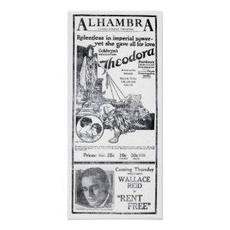 'Theodora' 1921 vintage epic movie ad poster