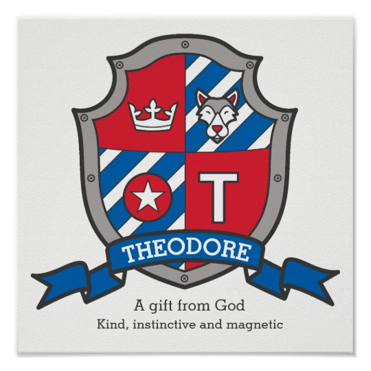 Theodore boys name meaning heraldry shield poster   Zazzle.com
