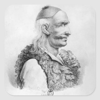Theodore Kolokotronis grabado por Alois Pegatina Cuadrada