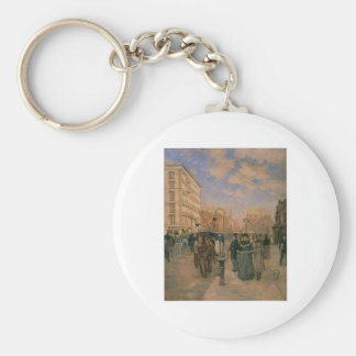 Theodore Robinson, Fifth Avenue at Madison Square Basic Round Button Keychain