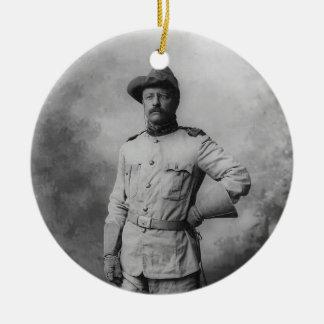 Theodore Roosevelt Adorno Navideño Redondo De Cerámica