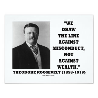 "Theodore Roosevelt Against Misconduct Not Wealth 4.25"" X 5.5"" Invitation Card"
